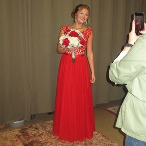 Sherri Hill #51638 Long Red Dress (Size 6)